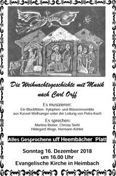 Die Weihnachtsgeschichte mit Musik nach Carl Orff am 16.12.2018 in Heimbach